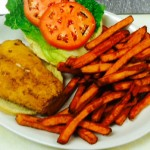 Fried Haddock Sandwich, Sweet Potato Fries